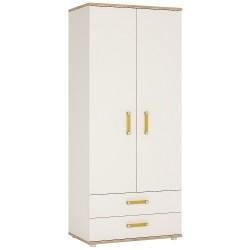 Ari 2 Door 2 Drawer Wardrobe with orange handles