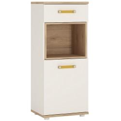 Ari 1 Door 1 Drawer Narrow Cupboard with orange handles