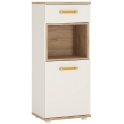 Ari 1 Door 1 Drawer Narrow Cupboard with orange handles