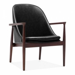Keating Lounge Chair Black Faux Leather