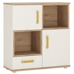 Ari 2 Door 1 Drawer Cupboard with orange handles
