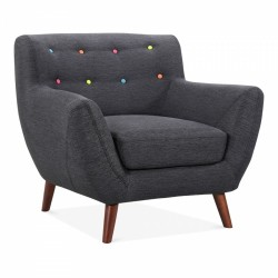 Horsen Fabric Upholstered Wool Touch Armchair Dark Grey