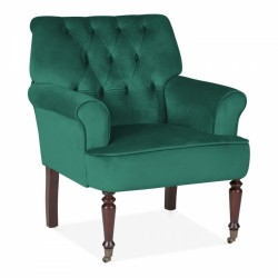 Tudor Velvet Upholstered Armchair Dark Green