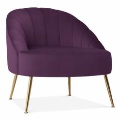 Burdett Velvet Upholstered Armchair - Purple