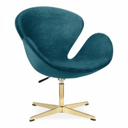 Swan lounge Chair Velvet Upholstered - Teal Angled Front View