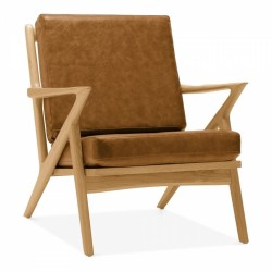 Danish Z Style Lounge Chair Tan & Natural