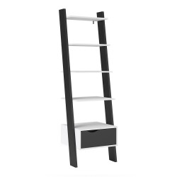 Asti Leaning Bookcase in White and Black Matt, white back ground