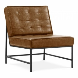 Troy Retro Faux Leather Upholstered Lounge Chair - Tan