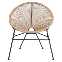 Garrucha Retro Rattan Lounge Chair - Natural Front View