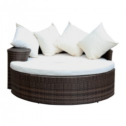 Hornsea Curved Rattan Day Bed (Sofa & Foot Stool)