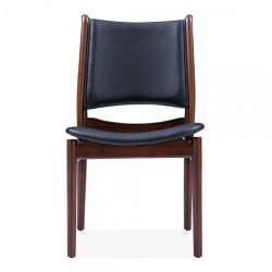 Josiah Wooden Dining Chair  Black Front view