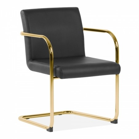 Tatamy Faux Leather Upholstered Dining Chair Black - Brass