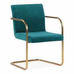 Tatamy Velvet Upholstered Dining Chair - Teal