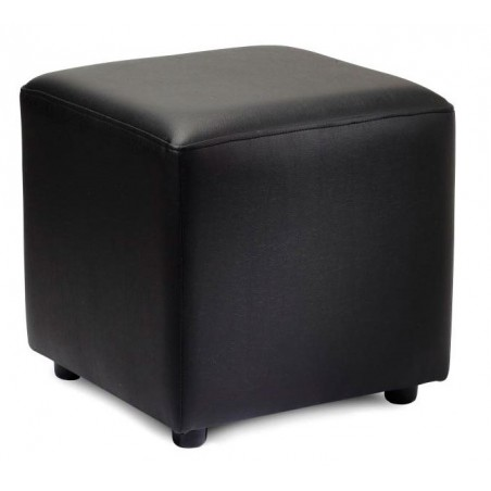 faux leather footstool in black