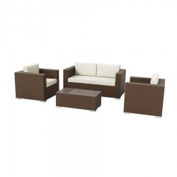 Aptos Garden 4 Piece Lounge Set - Brown