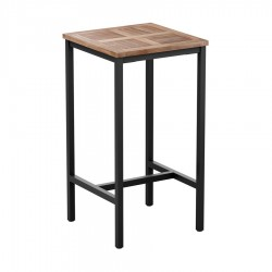 Cambria Wood & Metal Square  Bar Hight Table - Teak Top 80x80