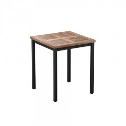 Cambria Wood & Metal Square Table - Teak 60 x 60cm