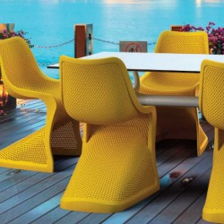 Amesti Modern Stackable Garden Chair Mood Shot