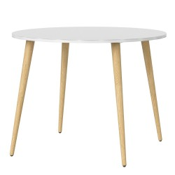 Asti Small Dining Table in White and Oak, white background