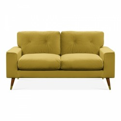 Amy Two Seater Velvet Sofa in mustard, white background