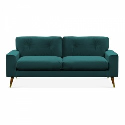 Amy Three Seater Velvet Sofa in teal, white background