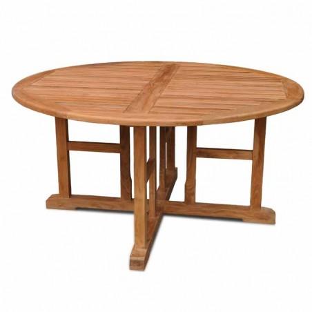 Carlin Round Teak Garden Table Front View