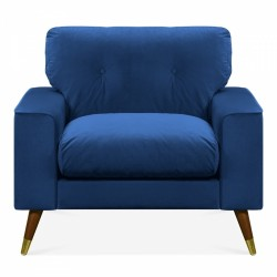 Amy Velvet Armchair in royal blue, white background