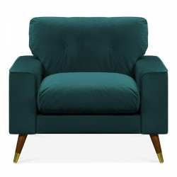 Amy Velvet Armchair in teal, white background