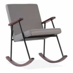 Charlie Rocking Chair, Faux Leather in grey, white background