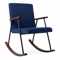 Charlie Rocking Chair, Velvet in royal blue, white background