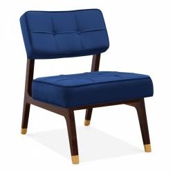 Cassy Lounge Chair, Upholstered Velvet in royal blue, white background