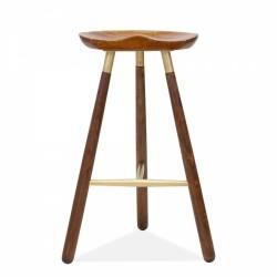 Carlton Wooden 3 Legged Bar Stool - 66cm Natural