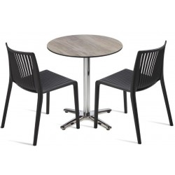 2 person table and chair set outdoor plastic chairs in Black