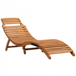 Piedra Acacia Wooden Large Foldable Sun Lounger