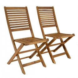 Auberry Acacia Wood Pair of Outdoor Foldable Chairs