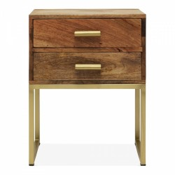 Ascot Industrial Side Table With 2 Drawers in brown, white background