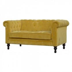 Velvet 2 Seater Chesterfield Sofa - Mustard