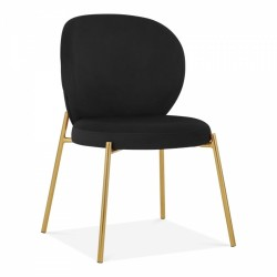Linton Wingback Dining Chair, Velvet Upholstered in black velvet