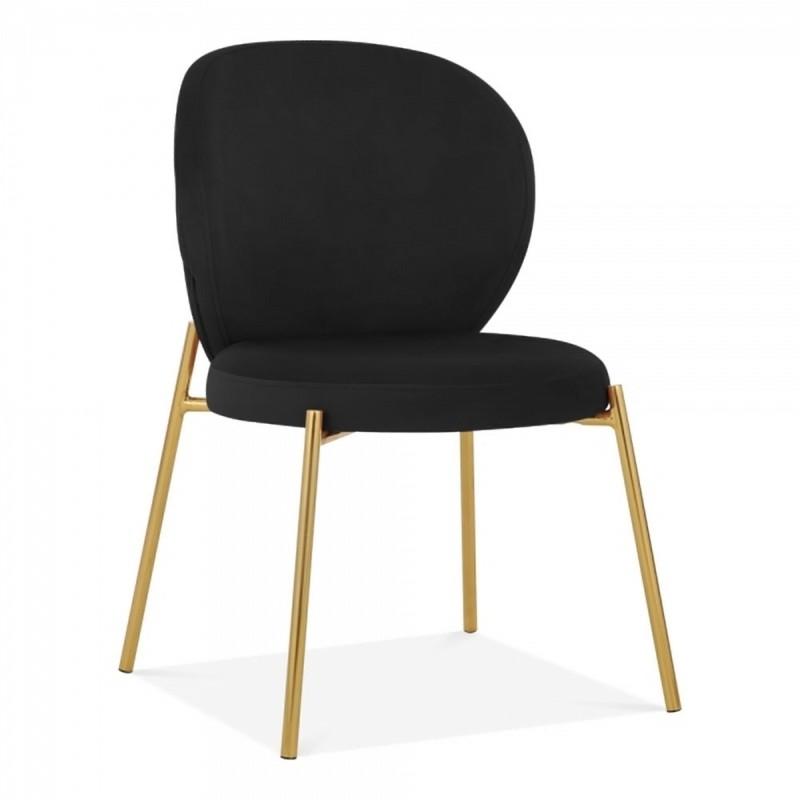 Linton Wingback Dining Chair, Velvet Upholstered in black velvet