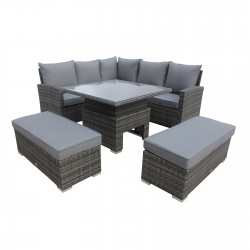 Belden Corner Lounge Set With Hydraulic Rising Table - Table Up