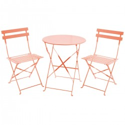 Taagan Folding Metal Bistro Set - Coral