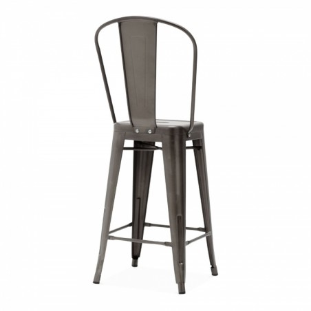 Tolix Style Metal Bar Stool With High Backrest