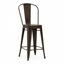 Tolix Style Metal Bar Stool with High Backrest - Rustic