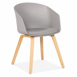 Copenhagen Plastic Dining Chair, Bentwood Leg Frame in grey