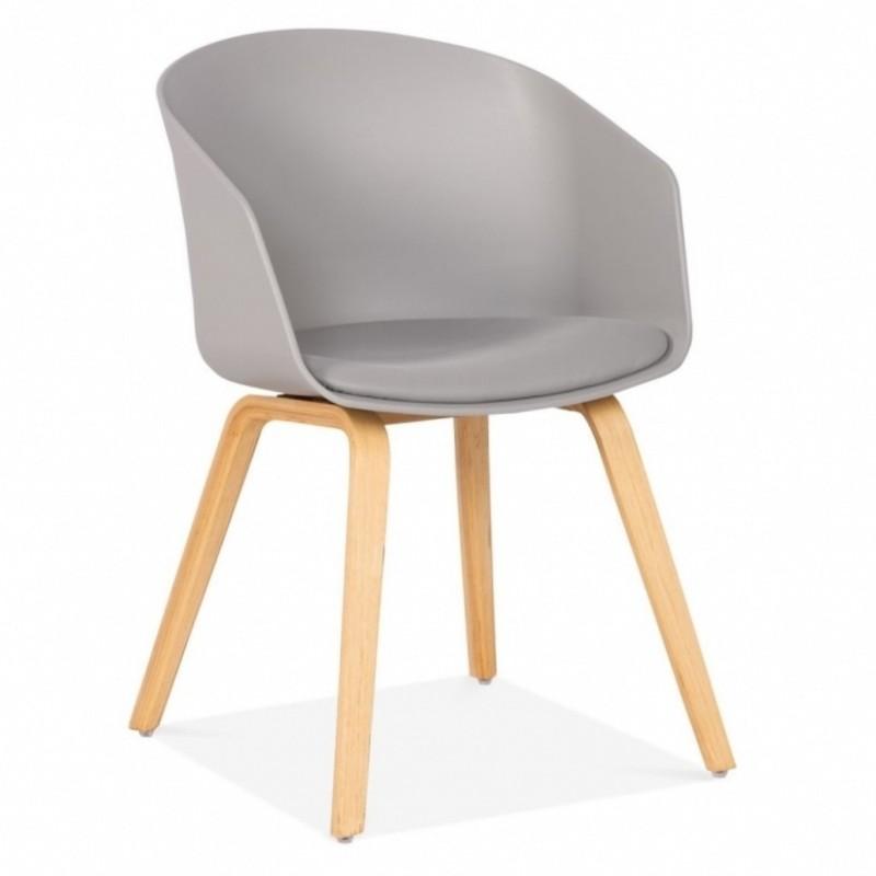 Copenhagen Plastic Dining Chair, Bentwood Leg Frame in grey