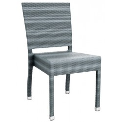 Grey rattan side chair