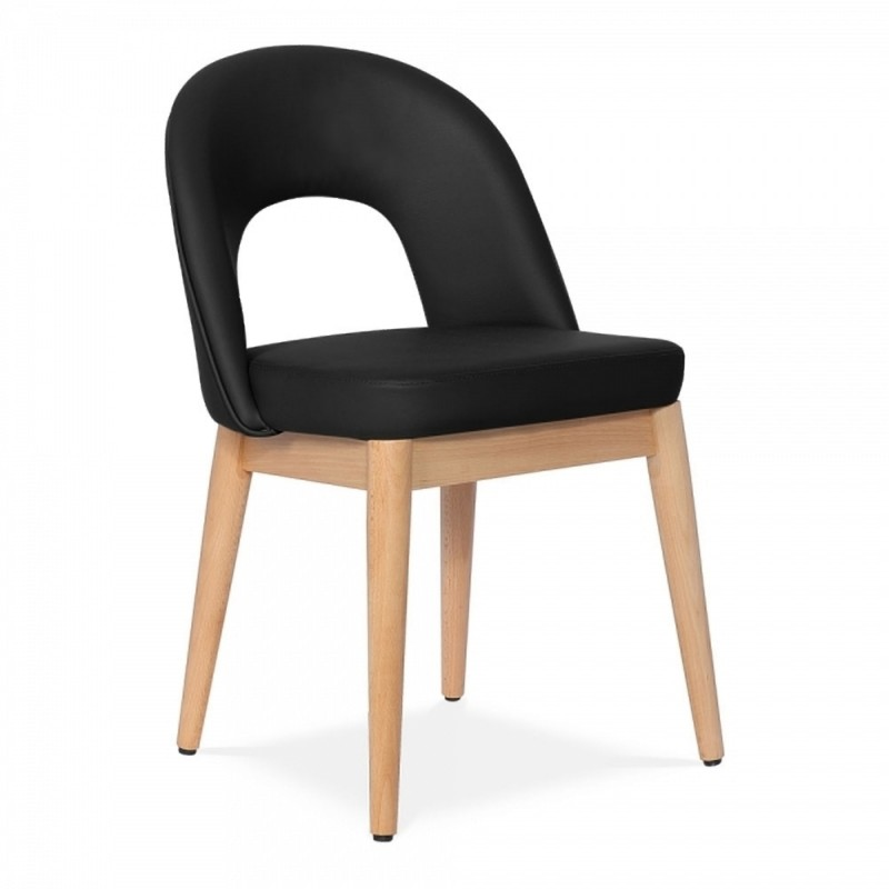Hundon Dining Chair, Faux Leather Upholstered in black