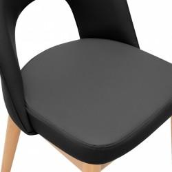 Black chair, close up seat shot