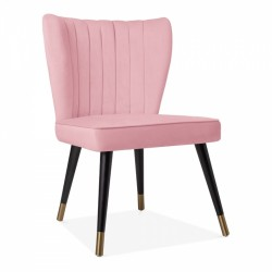 Cranborne Dining Chair, Velvet Upholstered in blush pink