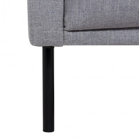 Grey sofa, black leg close up detail
